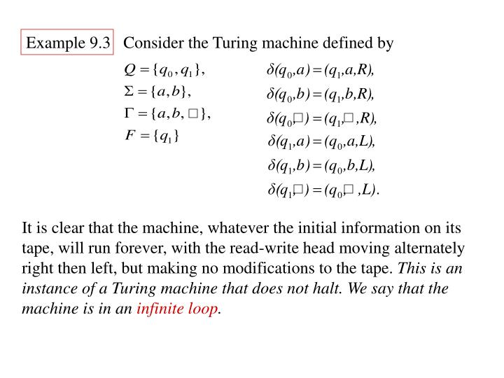 Example 9.3   Consider the Turing machine defined by