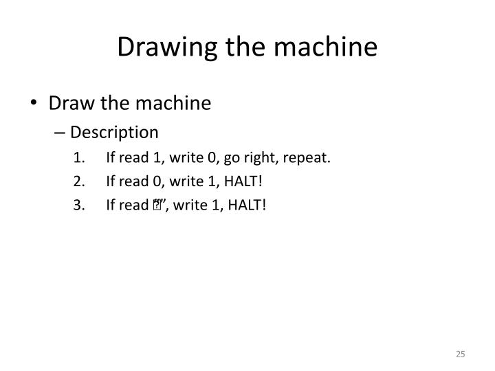 Drawing the machine