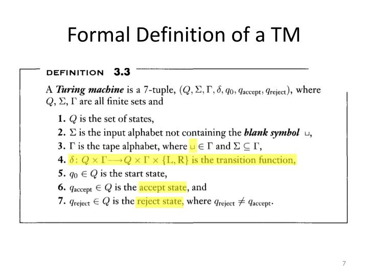 Formal Definition of a TM