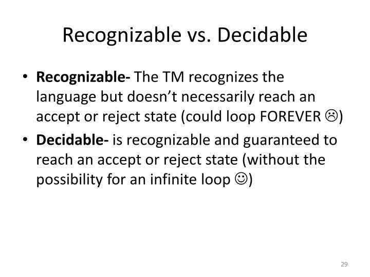 Recognizable vs. Decidable