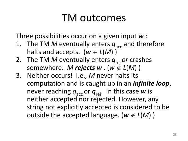 TM outcomes