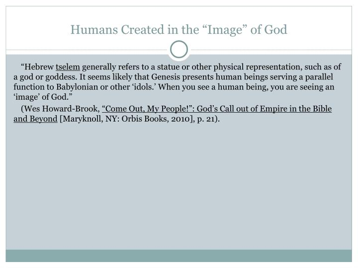 "Humans Created in the ""Image"" of God"
