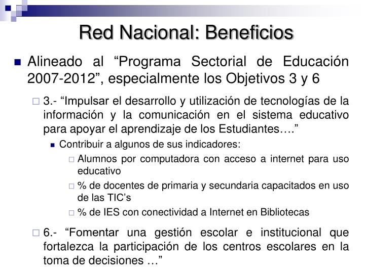 Red Nacional: Beneficios