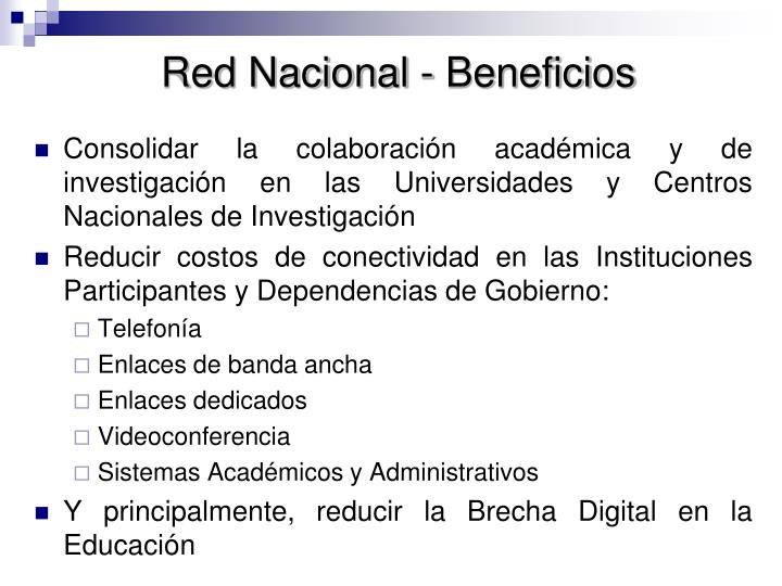 Red Nacional - Beneficios