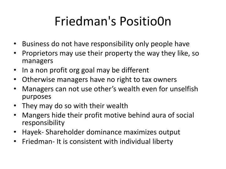 Friedman's Positio0n