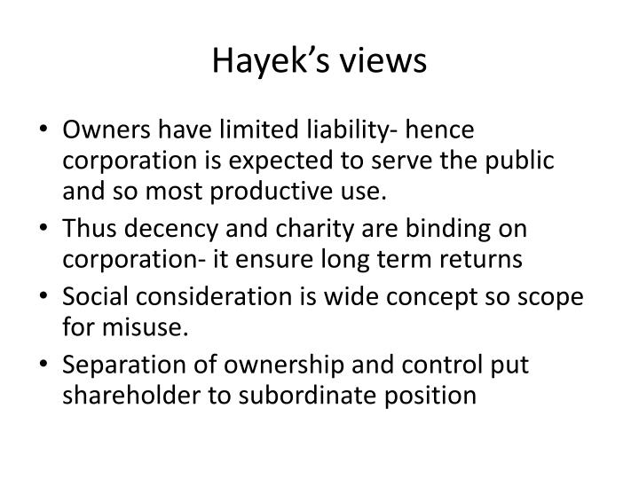 Hayek's views