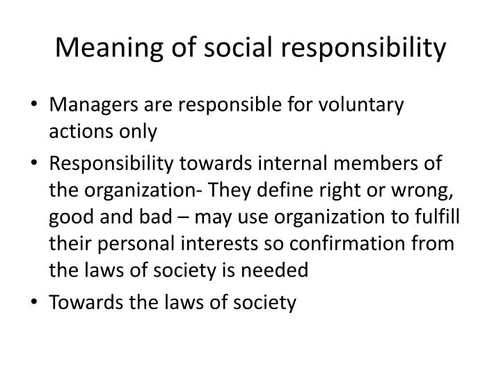 Meaning of social responsibility
