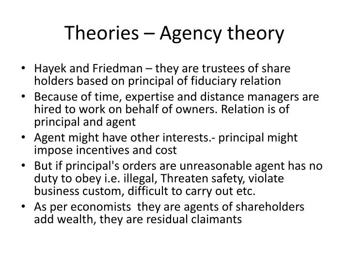 Theories – Agency theory