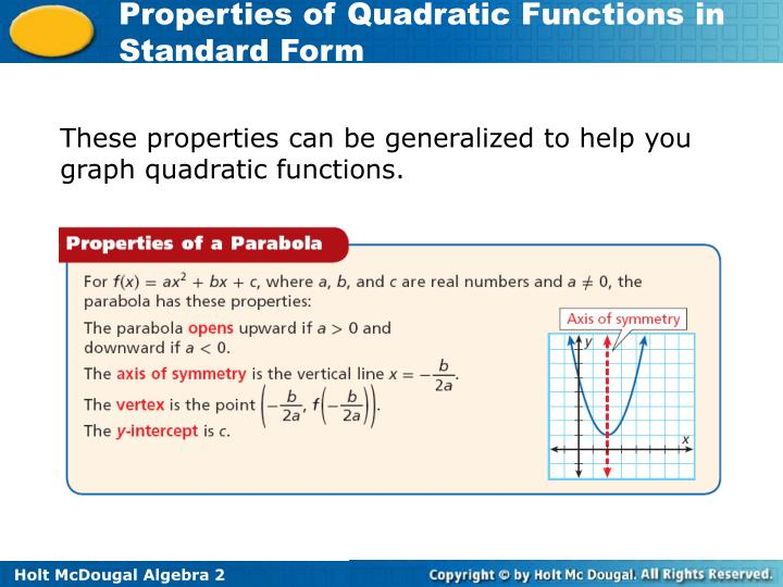 These properties can be generalized to help you graph quadratic functions.