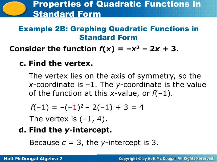 Example 2B: Graphing Quadratic Functions in Standard Form