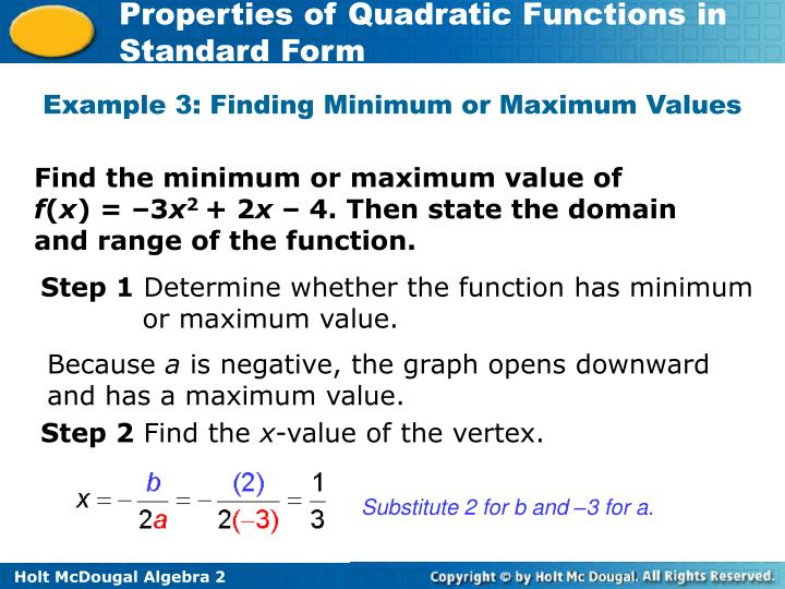 Example 3: Finding Minimum or Maximum Values