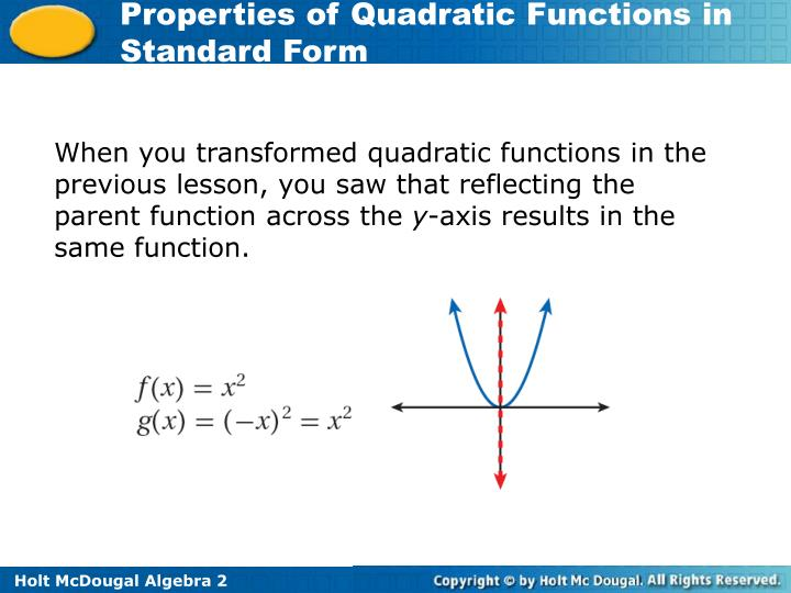 When you transformed quadratic functions in the previous lesson, you saw that reflecting the parent function across the