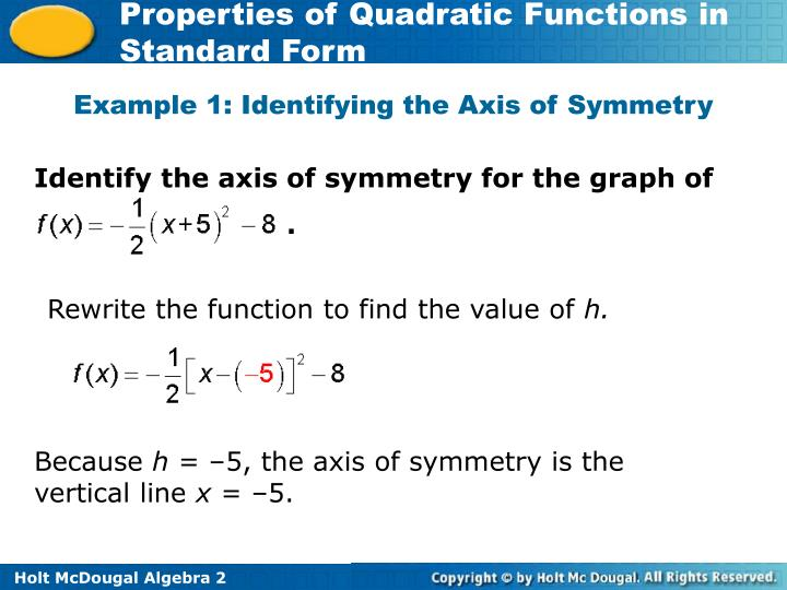 Identify the axis of symmetry for the graph of