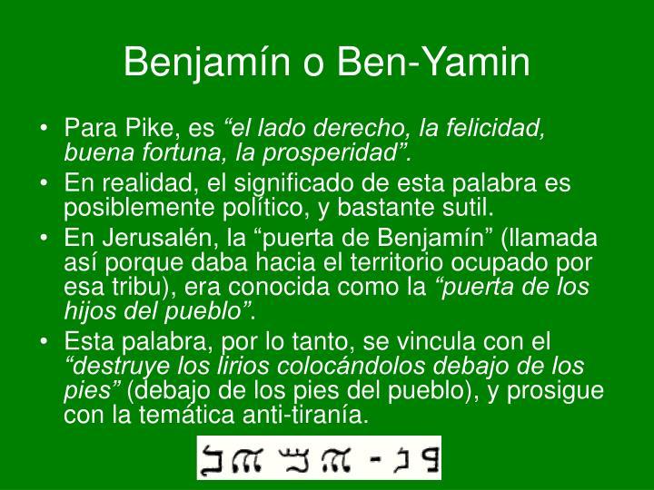 Benjamín o Ben-Yamin