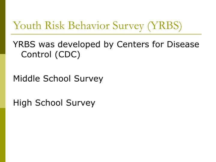 Youth risk behavior survey yrbs