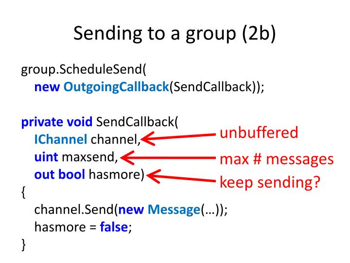 Sending to a group (2b)