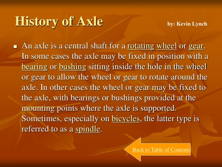 History of Axle