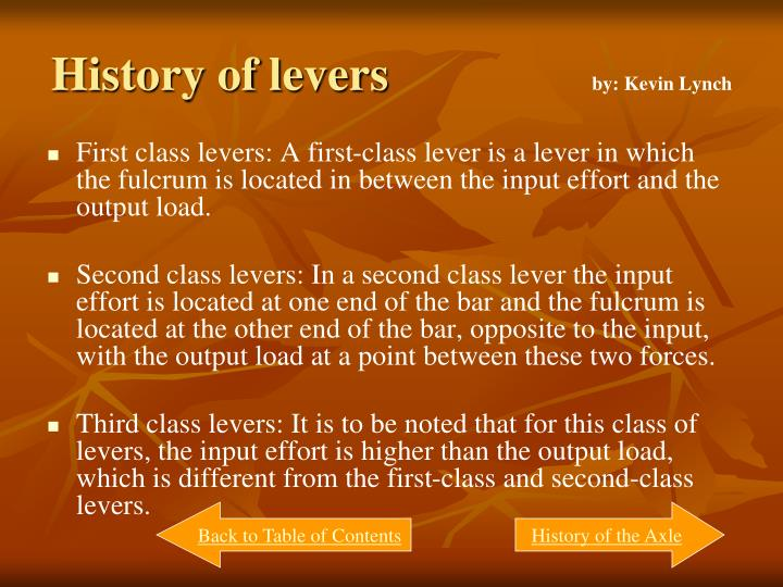 History of levers