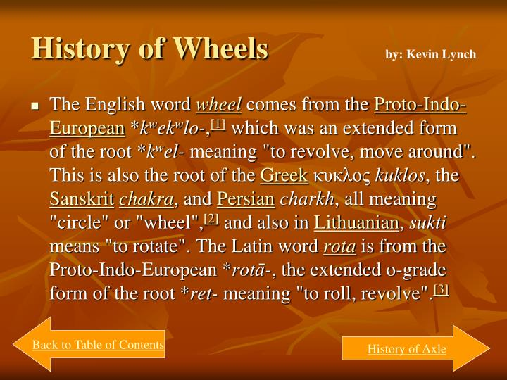 History of Wheels