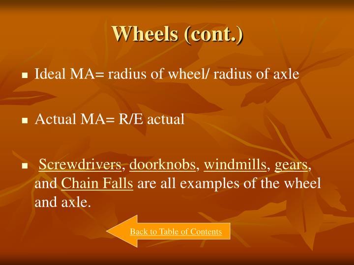 Wheels (cont.)