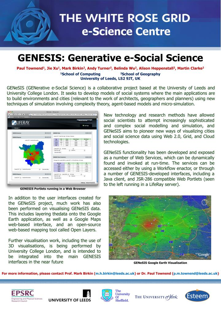GENESIS: Generative e-Social Science