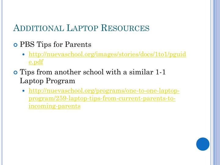 Additional Laptop Resources