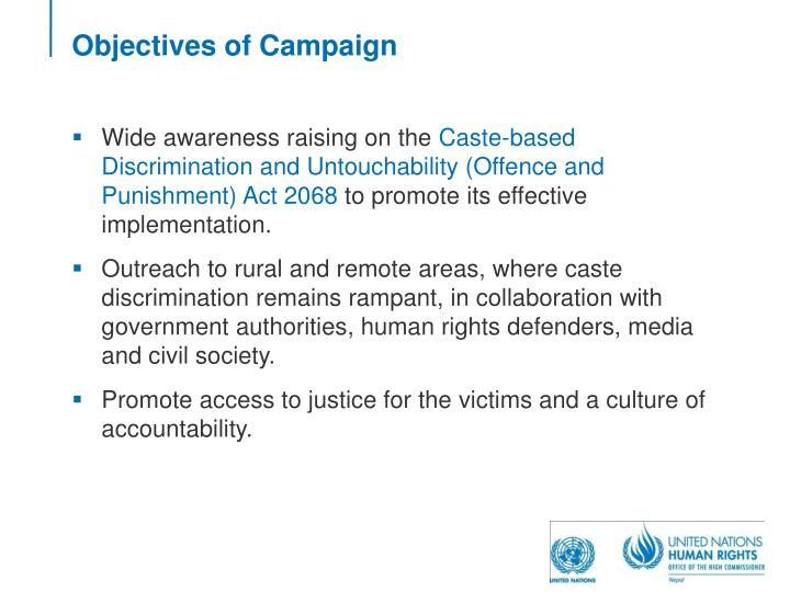 Objectives of Campaign
