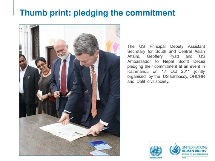 Thumb print: pledging the commitment