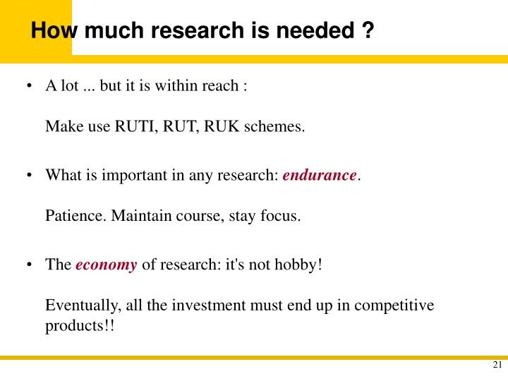 How much research is needed ?
