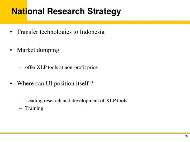 National Research Strategy