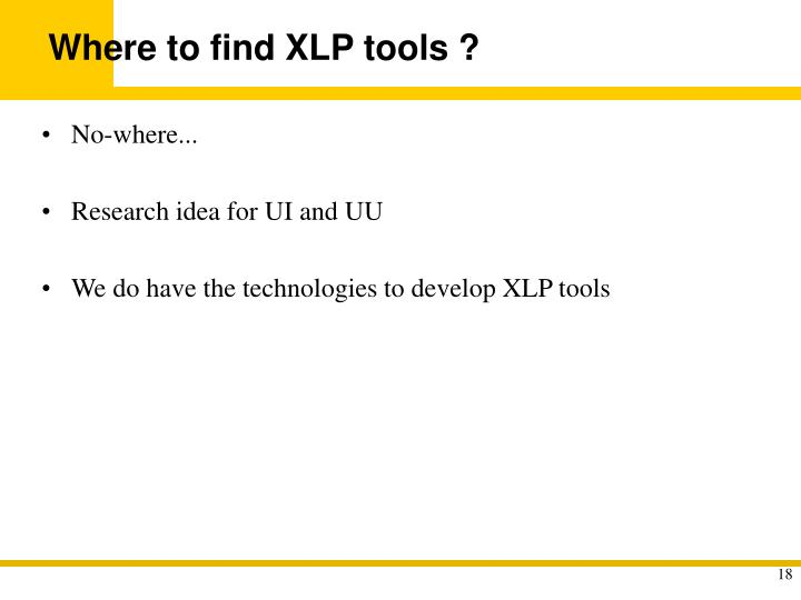 Where to find XLP tools ?