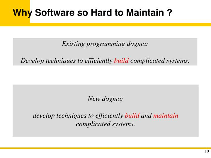 Why Software so Hard to Maintain ?