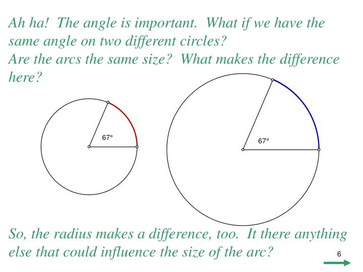 Ah ha!  The angle is important.  What if we have the same angle on two different circles?
