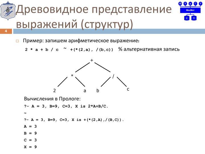 Древовидное представление выражений (структур)