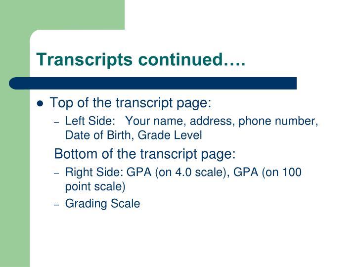 Transcripts continued….