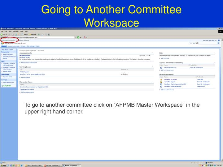 Going to Another Committee Workspace