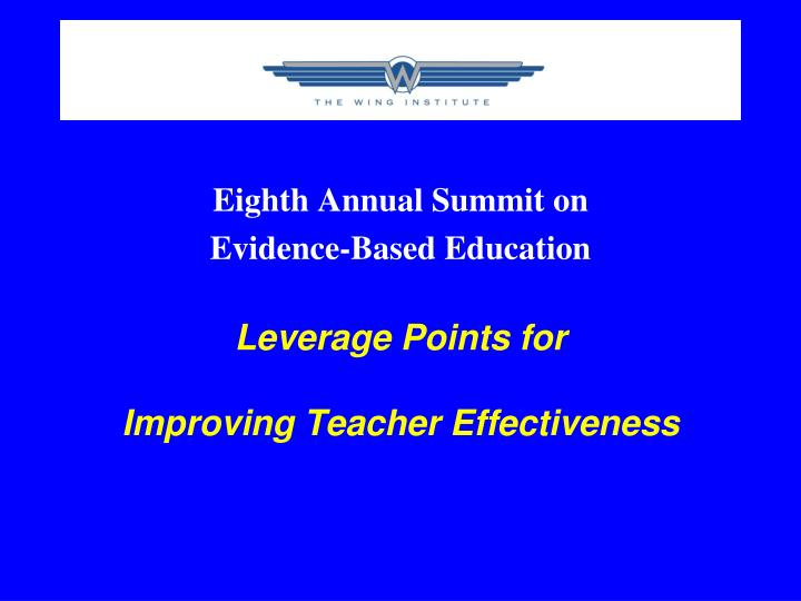 Eighth Annual Summit on