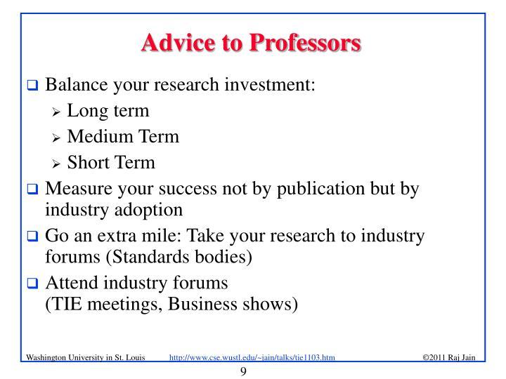 Advice to Professors