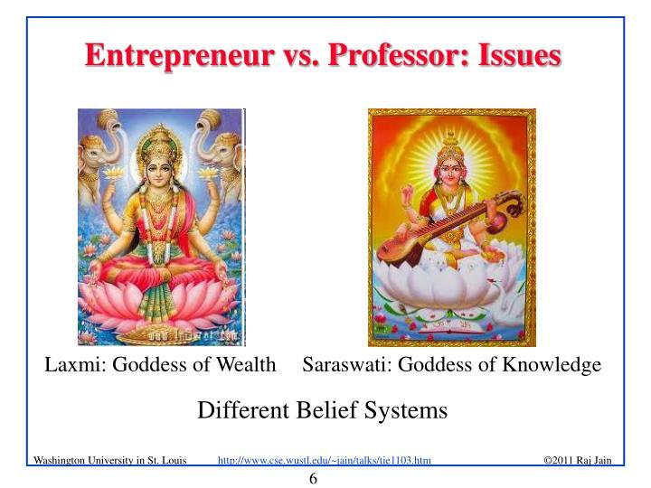 Entrepreneur vs. Professor: Issues