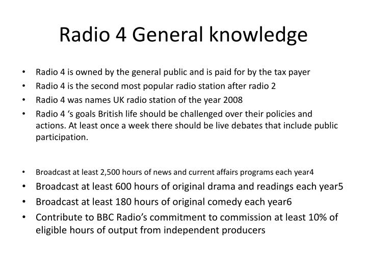 Radio 4 General knowledge