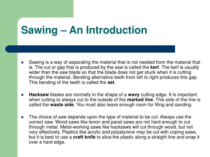 Sawing an introduction