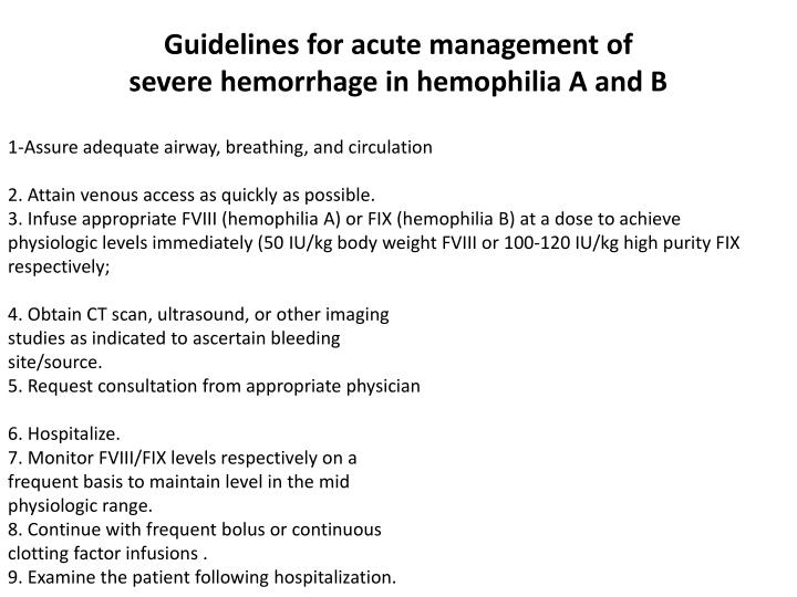 Guidelines for acute management of