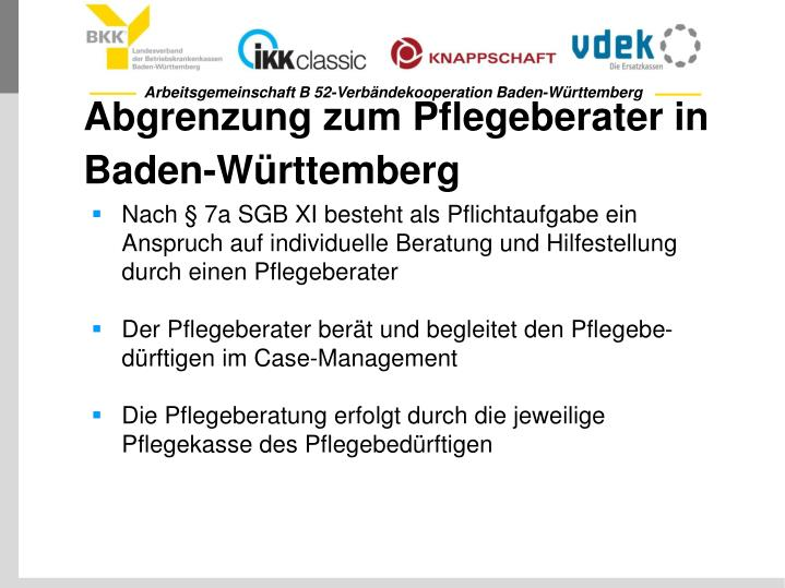 Abgrenzung zum Pflegeberater in Baden-Württemberg