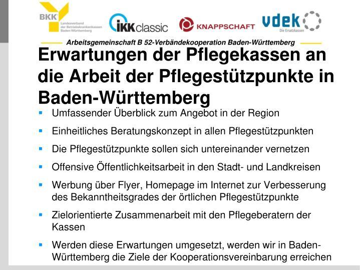 Erwartungen der Pflegekassen an die Arbeit der Pflegestützpunkte in Baden-Württemberg