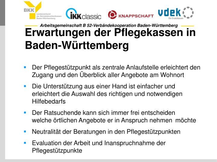 Erwartungen der Pflegekassen in Baden-Württemberg