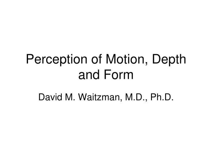 Perception of motion depth and form