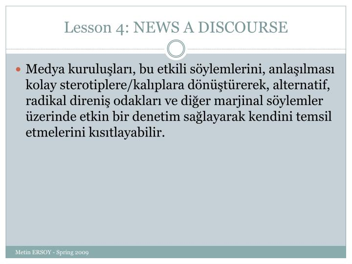 Lesson 4: NEWS A DISCOURSE