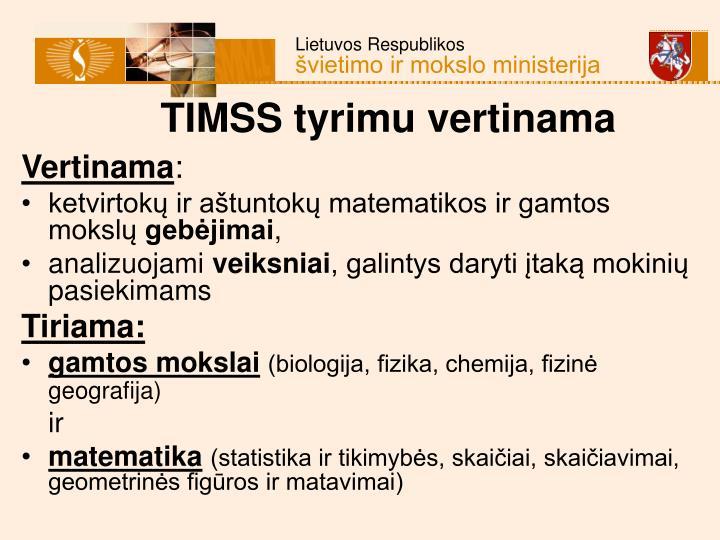 TIMSS tyrimu vertinama