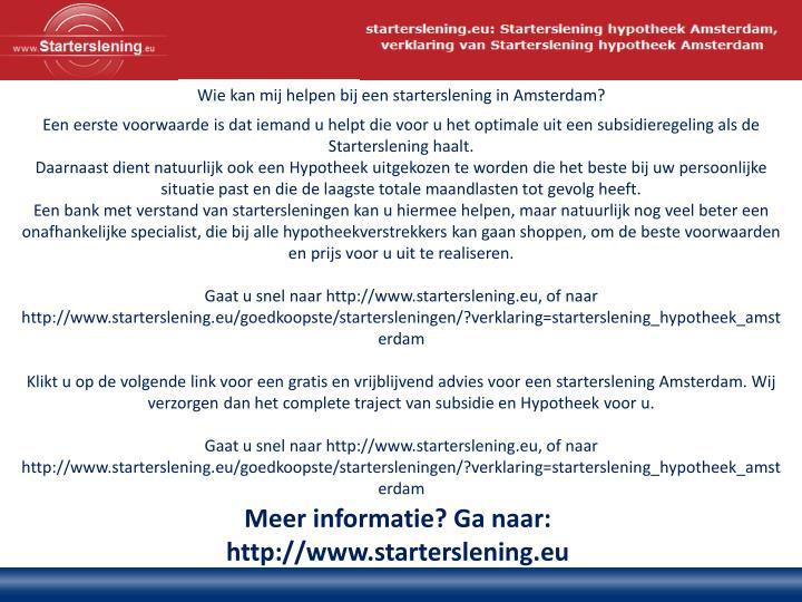 Wie kan mij helpen bij een starterslening in Amsterdam?