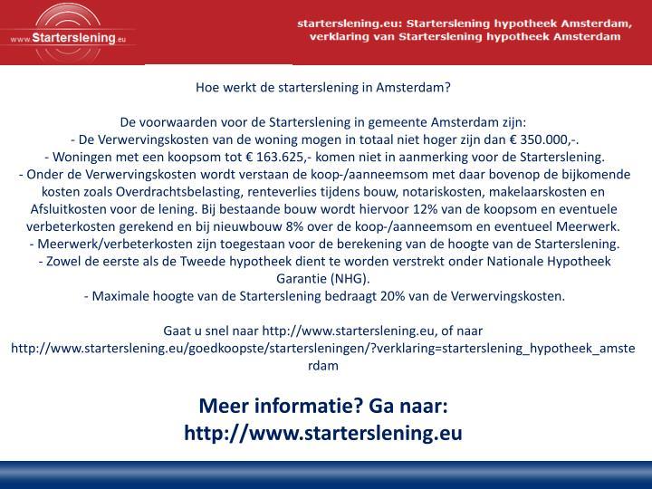 Hoe werkt de starterslening in Amsterdam?